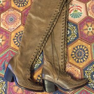 Leather Lace Up Knee High Boots Jeffrey Campbell 9